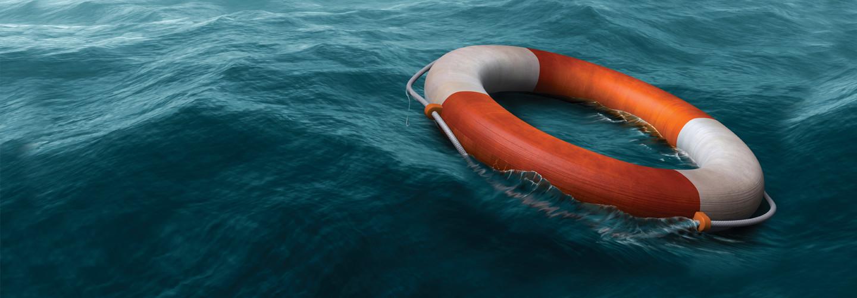 Life preserver in water