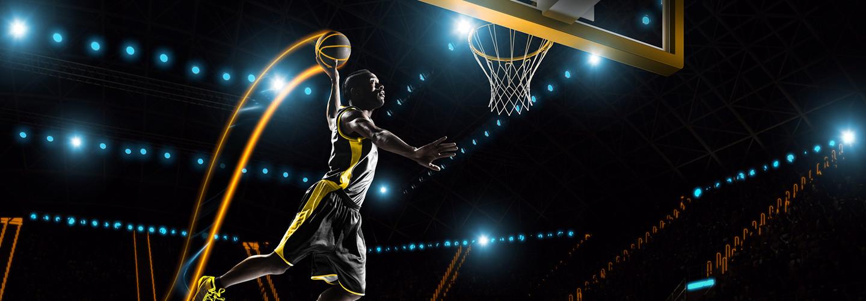 Futuristic basketball player dunking