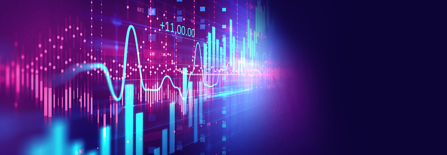 Abstract purple and teal AI finance image with bar charts