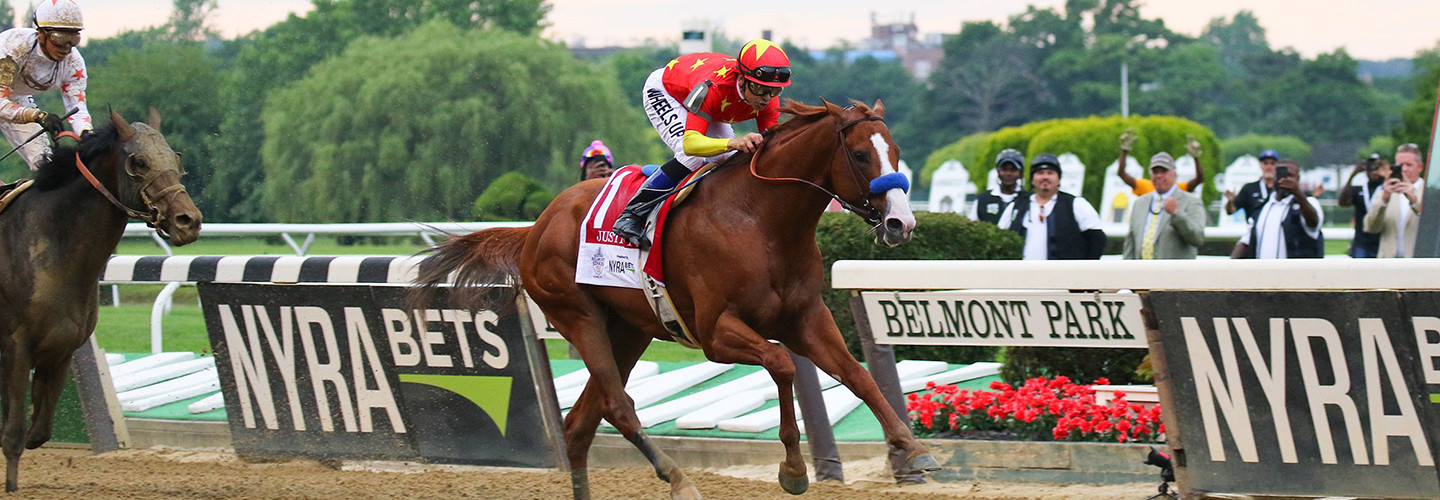 Justify winning the Triple Crown in the 2018 Belmont Stakes