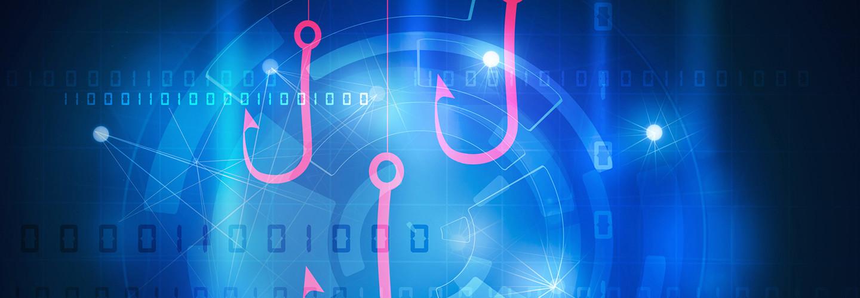Phishing attacks illustration with hooks, lures, digital binary code