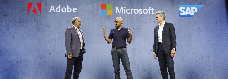 Shantanu Narayen, CEO, Adobe; Satya Nadella, CEO, Microsoft; and Bill McDermott CEO, SAP, at Microsoft Ignite 2018