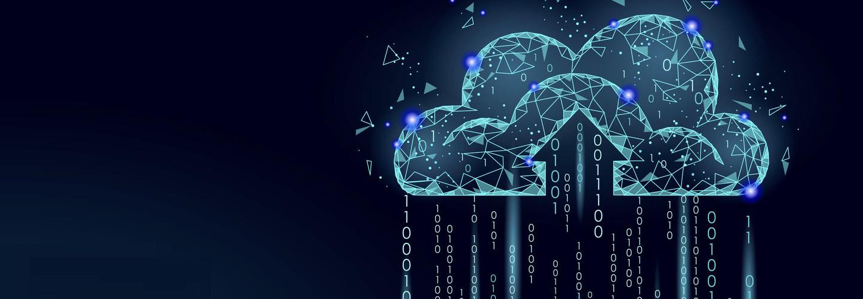Cloud computing online storage low poly. Polygonal future modern internet business technology. Blue glowing global data information exchange