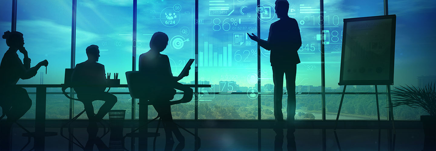The illustration shows the silhouettes of the speaker holding the corporate presentation and listeners.