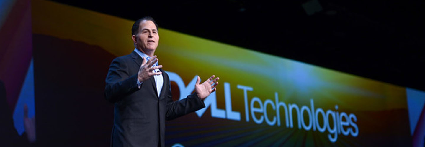 Michael Dell speaking at Dell Technologies World 2019.
