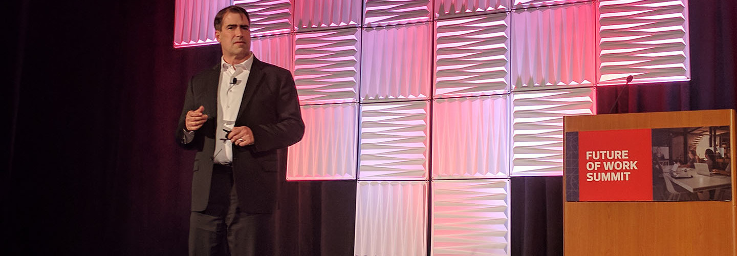 Tom DeCoster, Vice President of Integrated Services Sales, CDW, speaking at the CDW Future of Work SummIT