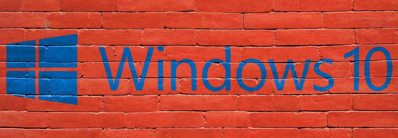 Windows 10 logo on brick wall