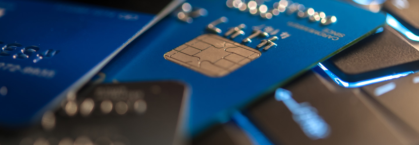 Credit card with visible chip