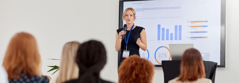 Woman gives presentation