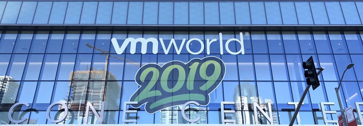 VMworld 2019 logo on building