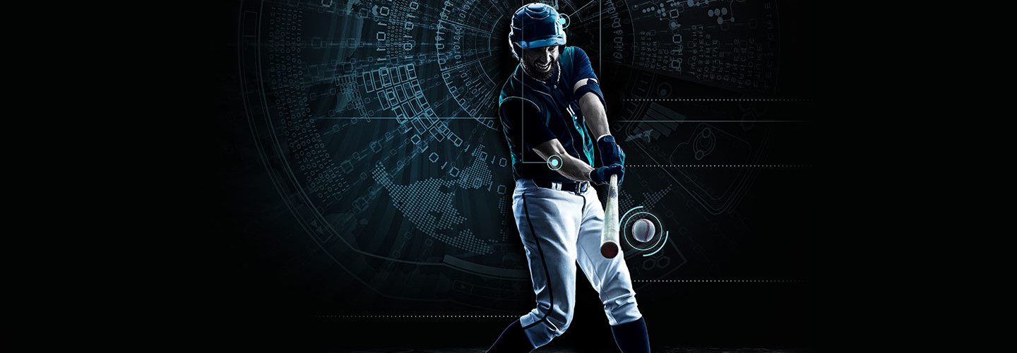 Baseball player swinging a baseball bat with digital trails behind the bat