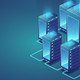 Data center. Concept of cloud storage, data transfer. Data transmission technology.