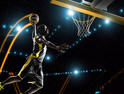 Futuristic basketball player dunking