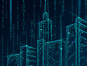 Binary code number data flow. Architecture urban cityscape technology