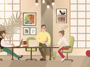 Cartoon illustration of a modern, hip coworking space