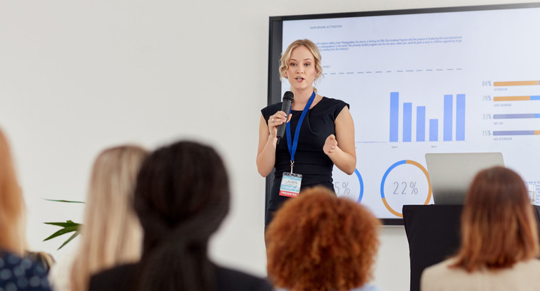 Woman gives presentation