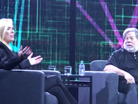 Splunk President of Worldwide Field Operations Susan St. Ledger talks with Steve Wozniak during Thursday's keynote session at Splunk .conf18.