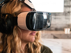 Woman using a Samsung Gear VR headset