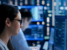 Woman working in cybersecurity