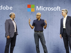 Shantanu Narayen, CEO, Adobe; Satya Nadella, CEO, Microsoft; and Bill McDermott CEO, SAP, at Microsoft Ignite 2018