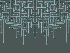 Electronic circuit abstract vector background.