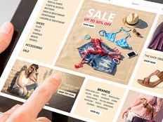 Woman shops online, via a well-designed retail app