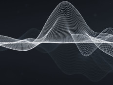 Voice abstract. White wavy lines on dark gray/black background.