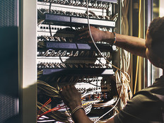 IT guy fixing data center