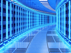 data center on blue background