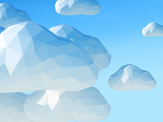 Abstract 3D clouds on blue sky background