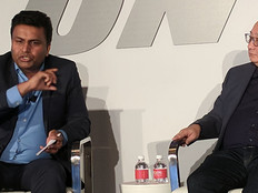 From left: Subbu Iyer, CMO, Riverbed and Mick Tan, CIO, Beacon Lighting speak at NRF 2019.