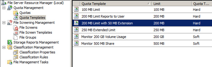 Figure 1: Disk quota templates