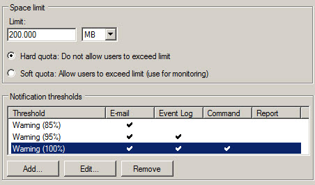 Figure 2: Warning Thresholds in Windows Server