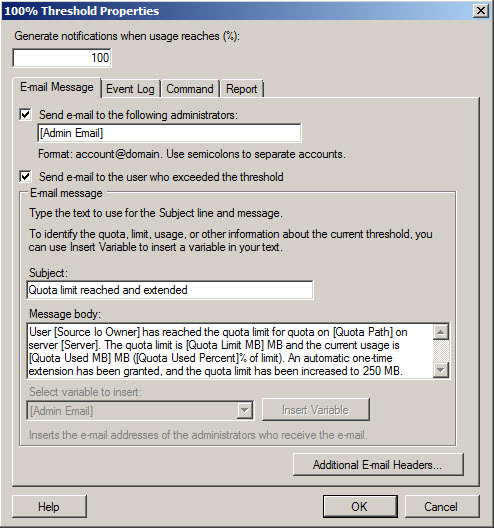 Figure 3: E-mail notifications in Windows Server