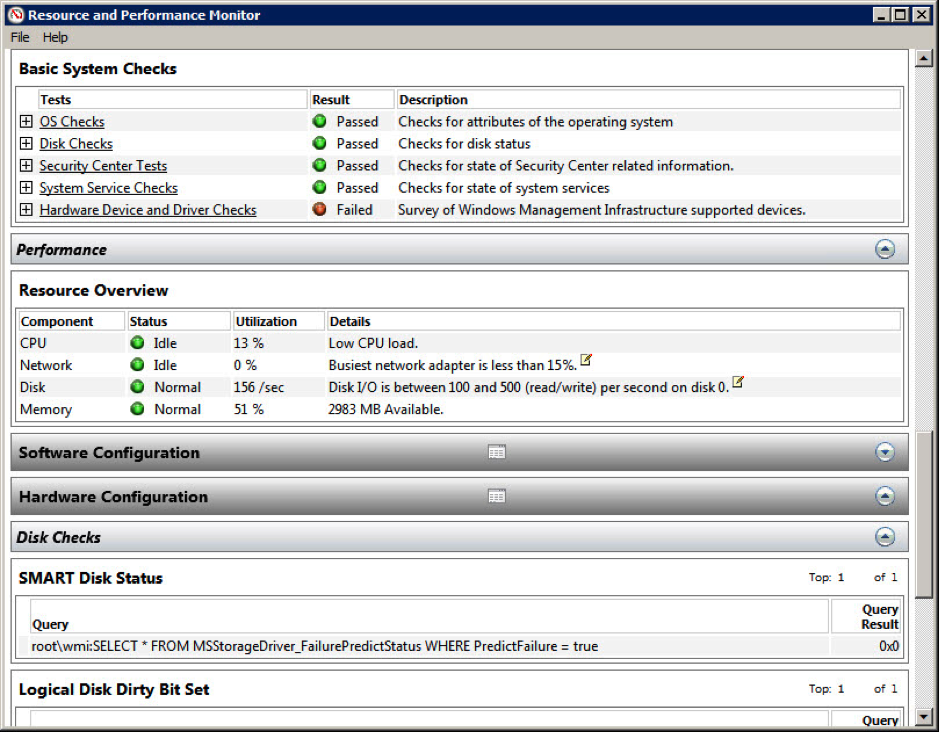 Figure 4: A system health report for Windows 7
