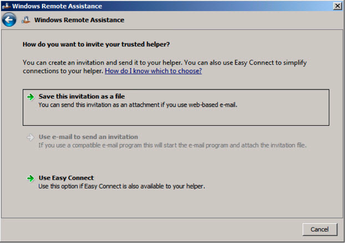 Figure 5: Windows Remote Assistance invitations via Easy Connect