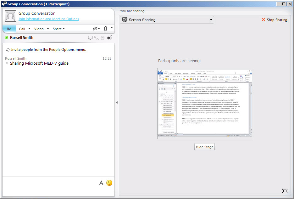 Sharing a Word Document using Lync 2010