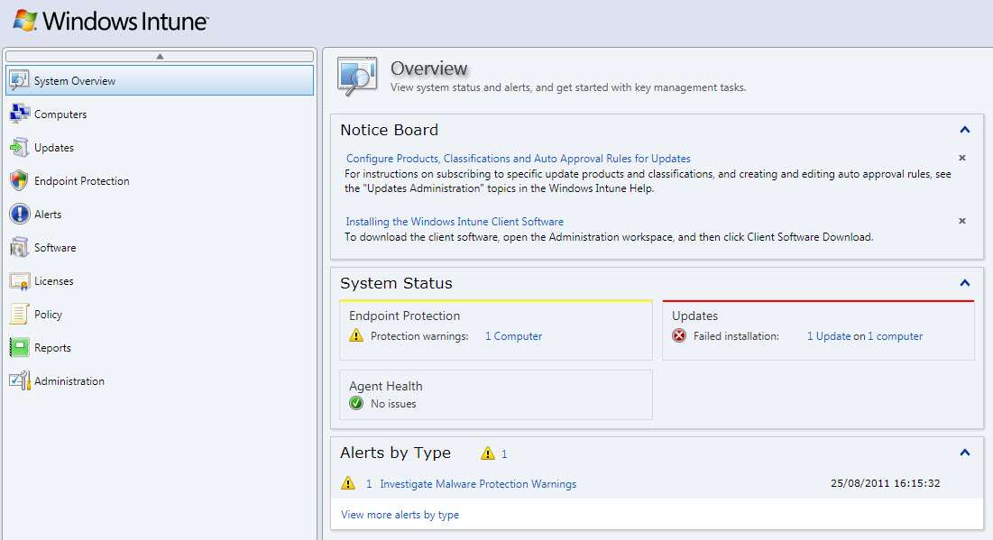 Windows Intune Management Console