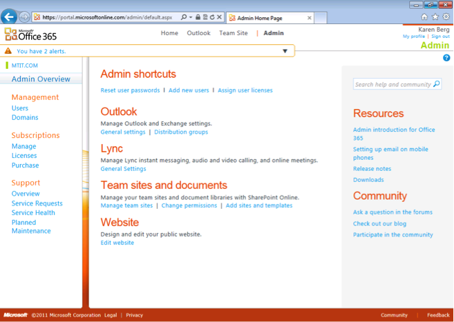 Office 365 Admin overview