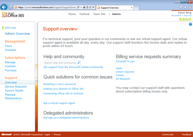 Office 365 Support Overview