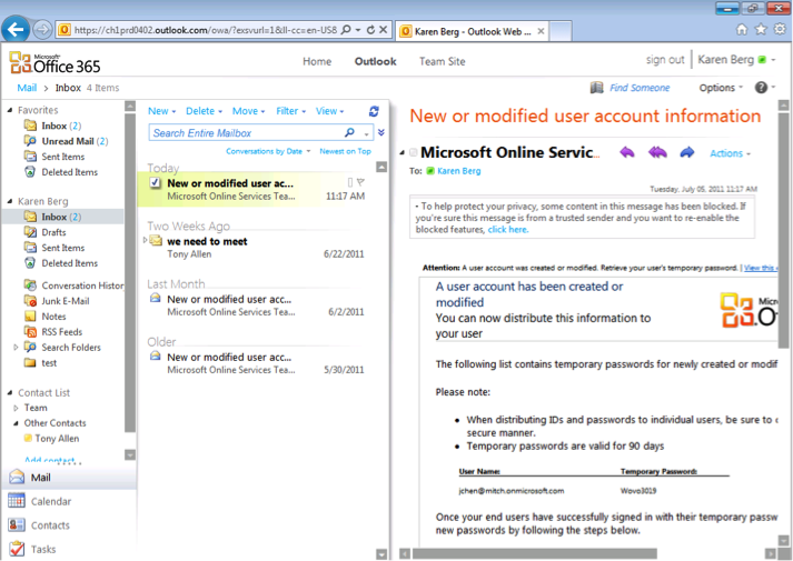 Office 365 Outlook Inbox
