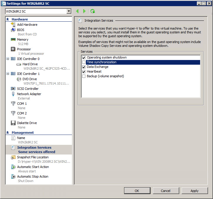 Disabling time synchronization in Hyper-V