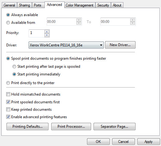 disabling advanced printing features on the client