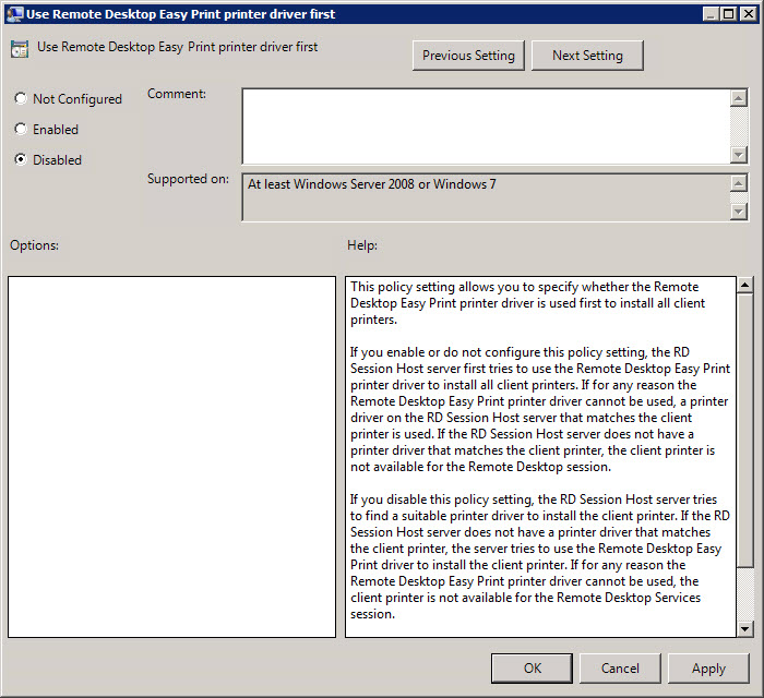 Use Terminal Services Easy Print Driver First policy setting in Group Policy
