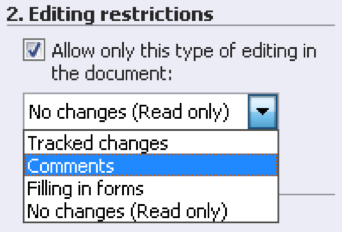 Office secure editing restrictions