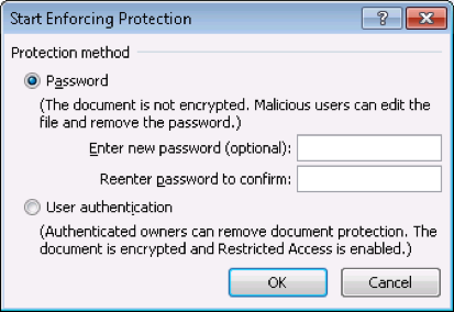 Microsoft Office enforcing protection
