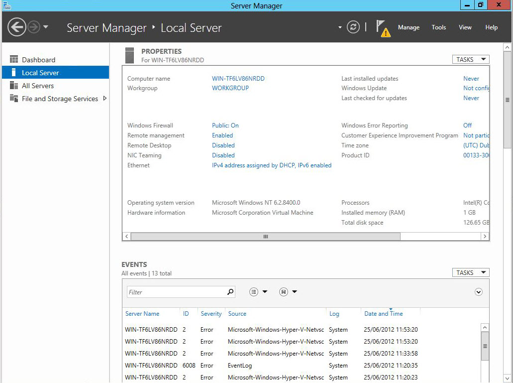 Server Manager in Server Core 2012