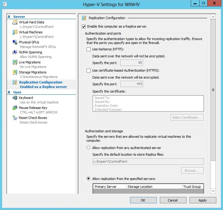 Figure 1 Hyper-V settings