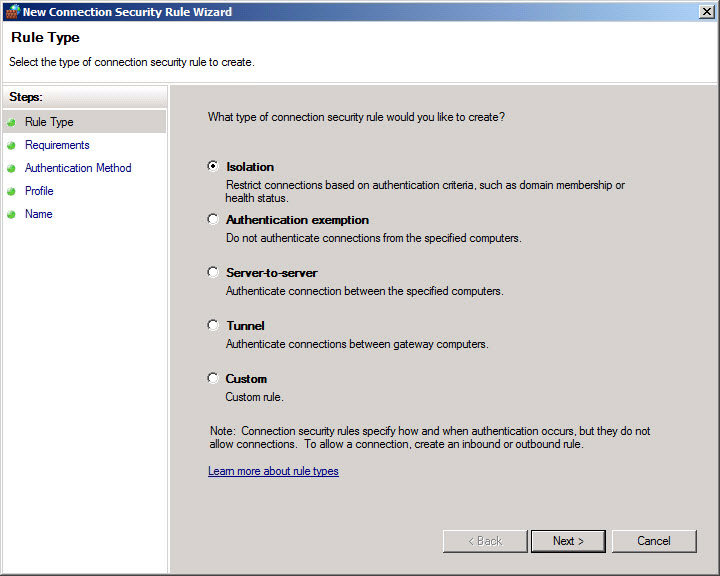 Creating IPsec rules in Windows Firewall