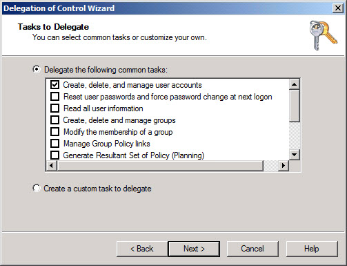 Active Directory Delegation of Control Wizard